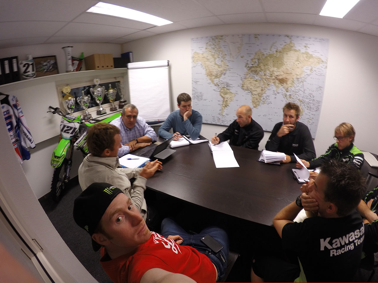 (The first thing I did when I arrived in Belgium was meet the team and have a quick meeting to discuss the plan for the week. Because I couldn't ride much, Tyla did most of the work for us.)